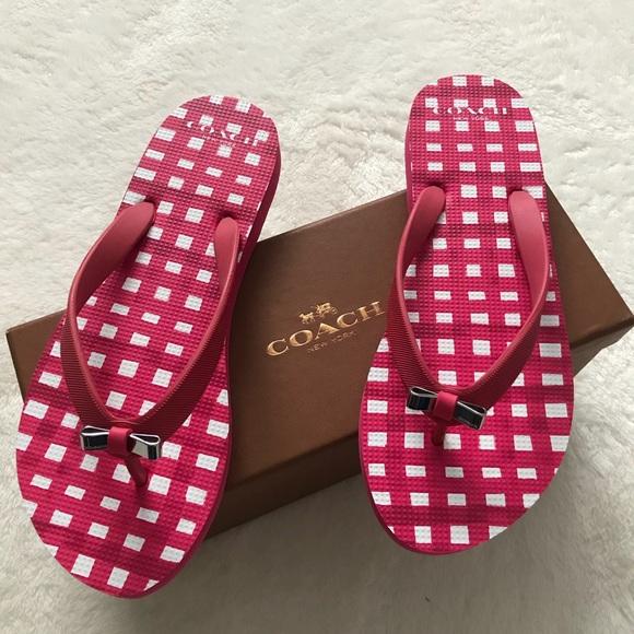 511e2f2b2bbcf4 Nwt Coach Amel Rubber Flip Flop In Poppy Pink